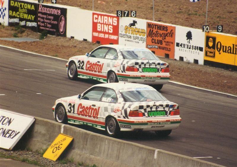 #31 Brett Riley, #32 Craig Baird BMW E36 325i Coupes – Manfeild 30 Jan 94 – Jim Barclay Photo