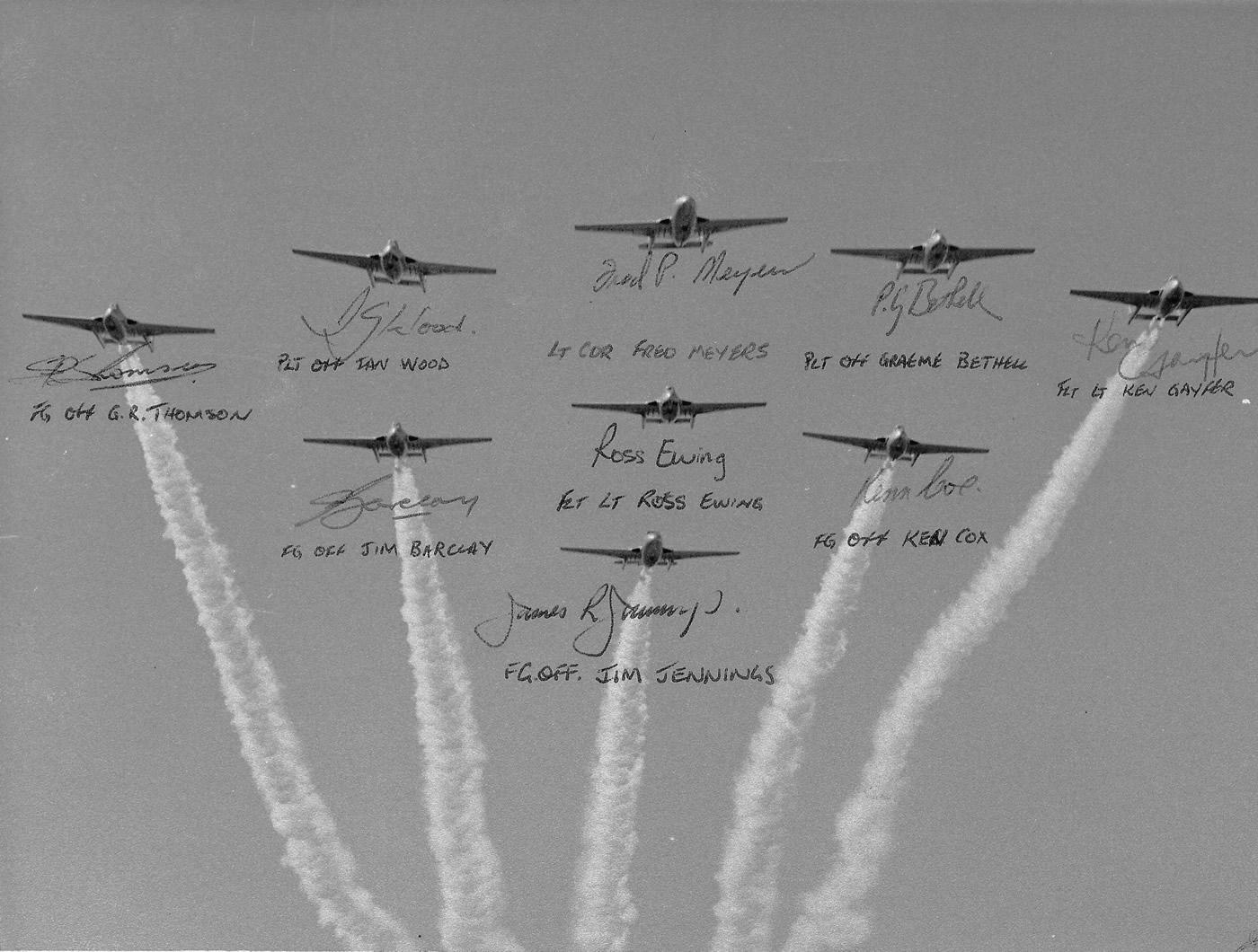 75 Sqn Diamond 9 Flypast Civic Ceremony – Gisborne – 9 Oct 69 RNZAF Photo Small
