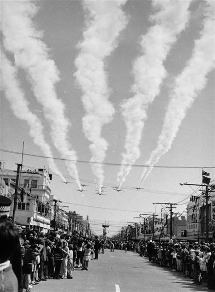 75 Sqn Diamond 9 Flypast Civic Ceremony – Gisborne – 9 Oct 69 RNZAF Photo