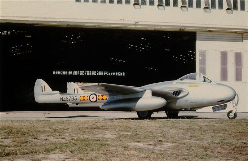 75 Sqn Vampire FB5 NZ5765 Fitted With Drop Tanks – RNZAF Woodbourne