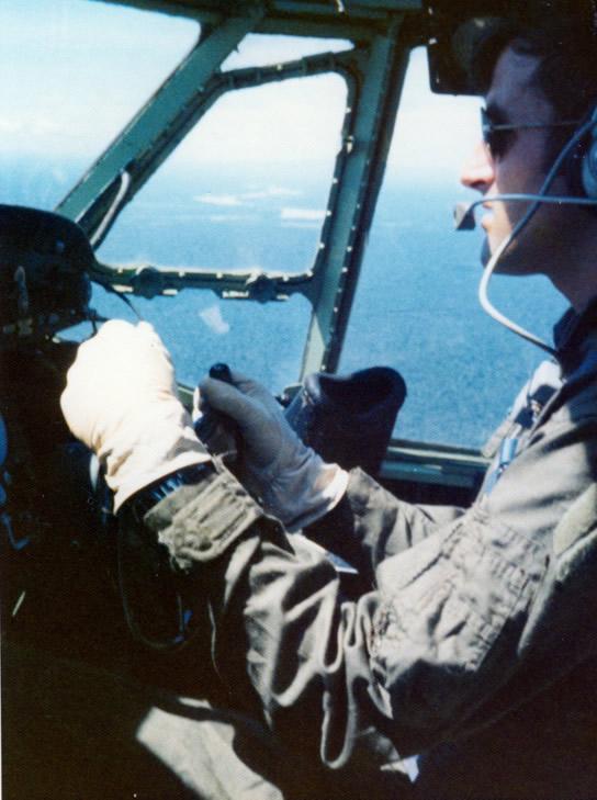 Co-Pilot, Flt Lt Jim Barclay flying Bristol Freighter NZ5912 Tengah-Kuantan 9 Nov 1973 Jim Barclay photo