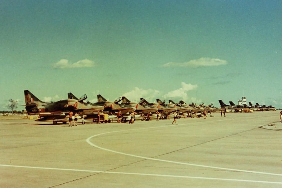 Exercise Blue Denim, RAAF Base Darwin, June 1973 - eight RNZAF 75 Squadron A4K Skyhawks and four RAF Vulcan B2 bombers – Jim Barclay photo