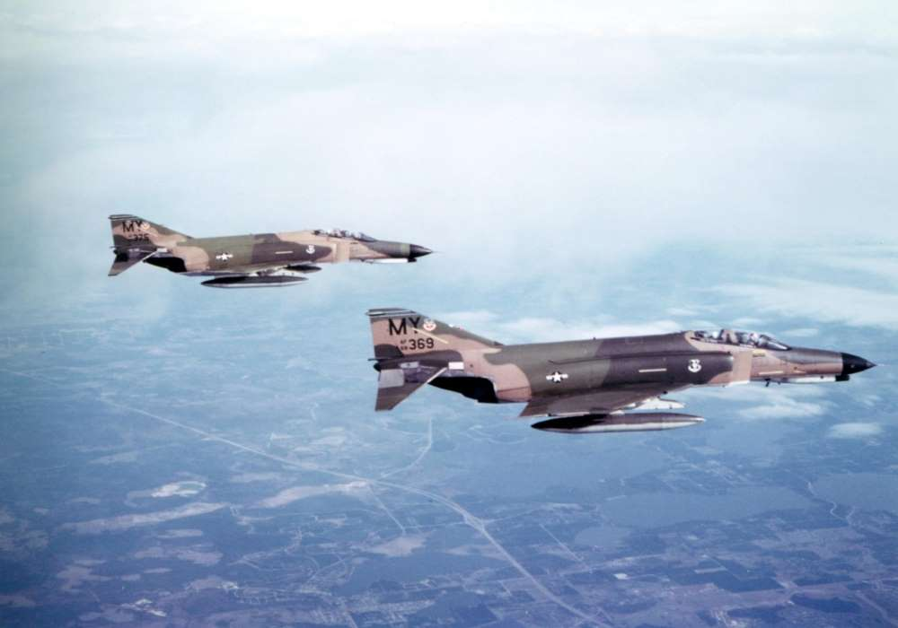 13th February 1980 Ferrying F4E Phantoms 68-369 and 67 375 with 'MY' tail codes from Moody AFB, Georgia, to Homestead AFB, Florida – photo by Jim Barclay in 'MY' F4E 68-427