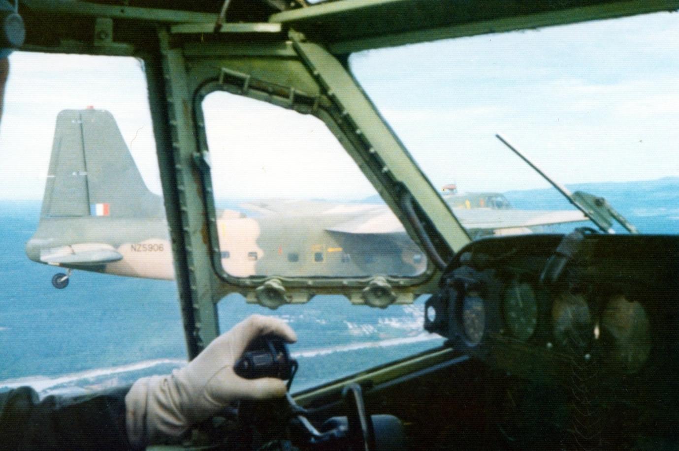 Flt Lt Keith Skilling in Bristol Freighter NZ5912 formates on NZ5906 flown by Flt Lt Den Monti 9 Nov 1973 – photo by Jim Barclay