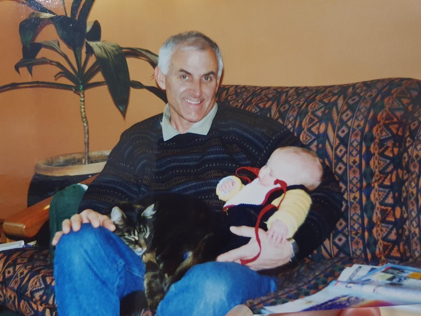 Granddad Jim With A Sleeping Xavier And A Snoozing Oscar 'The Baron Of Maungaraki' – 1997