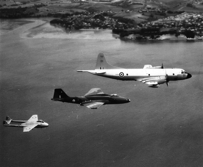 P3B Orion NZ4201 Leading Canberra B12 And Vampire FB5 5770 – Hauraki Gulf – April 1970