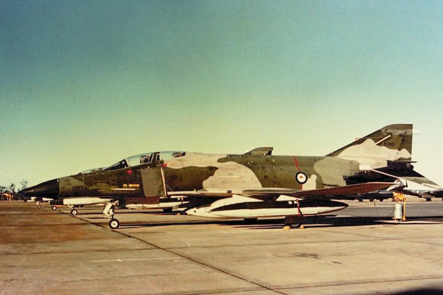 RAAF McDonnell Douglas Phantom II F4E 97201 – RAAF Base Amberley, 10 June 1973 – twenty four brand new F4E aircraft were leased from USA for the period 1970 -1973 while the RAAF awaited delivery of their new F111C aircraft in mid-1973 - Jim Barclay photo