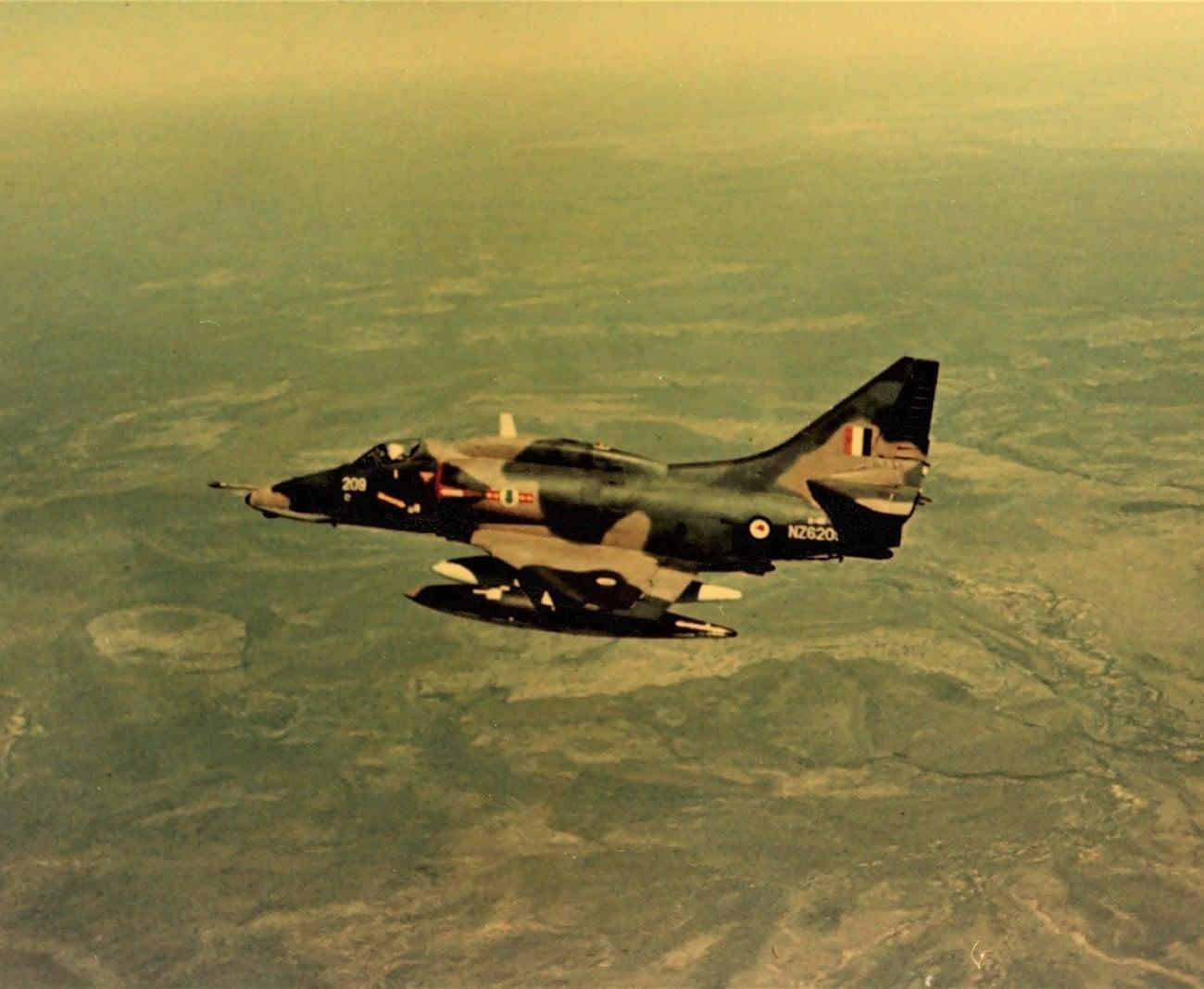 Transit from Darwin to Amberley at about 27,000 feet over the arid Barkly Tablelands – 75 Sqn A4K Skyhawk NZ6209 – Sunday 10th June 1973 – photo by Jim Barclay