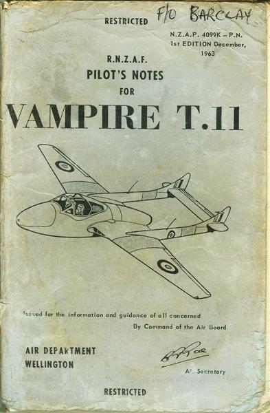 Pilots Notes Vampire T11
